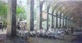Arcos de la plaza real. Mixta sobre tela. 200x100 cms.