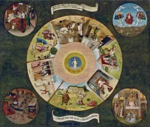 Mesa de los pecados capitales, del Bosco