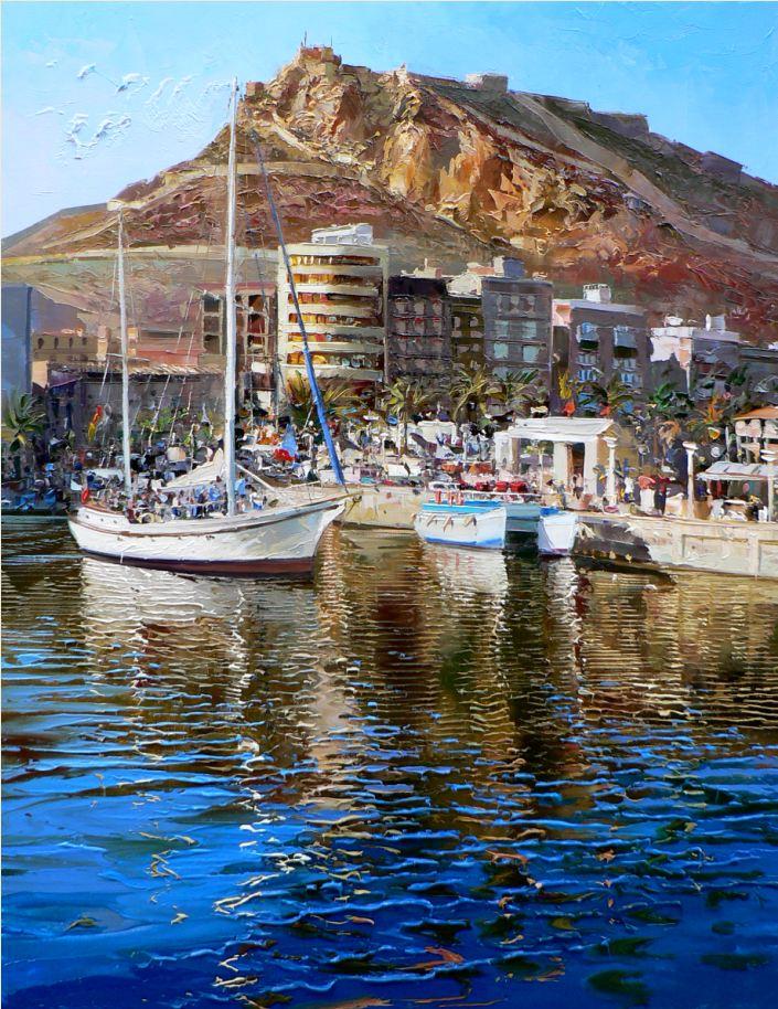 Reflejos en el puerto de Alicante, de Evaristo Alguacil