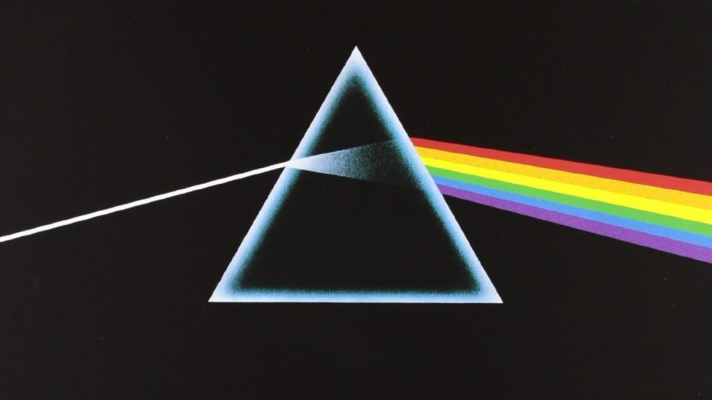 Portada del álbum The Dark Side of the moon, y el símbolo más representativo de la banda